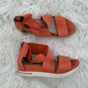 Eileen Fisher Orange Soft Leather Strappy Sandals